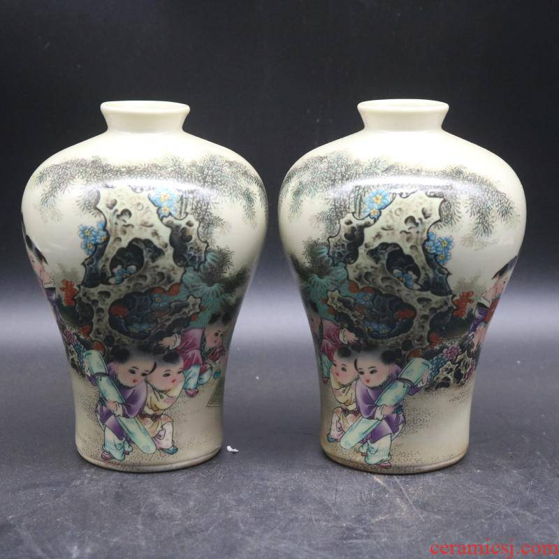 Pastel baby play figure may reign of the qing emperor guangxu bottles of a pair of collectables - autograph antique antique do old porcelain rich ancient frame desktop furnishing articles