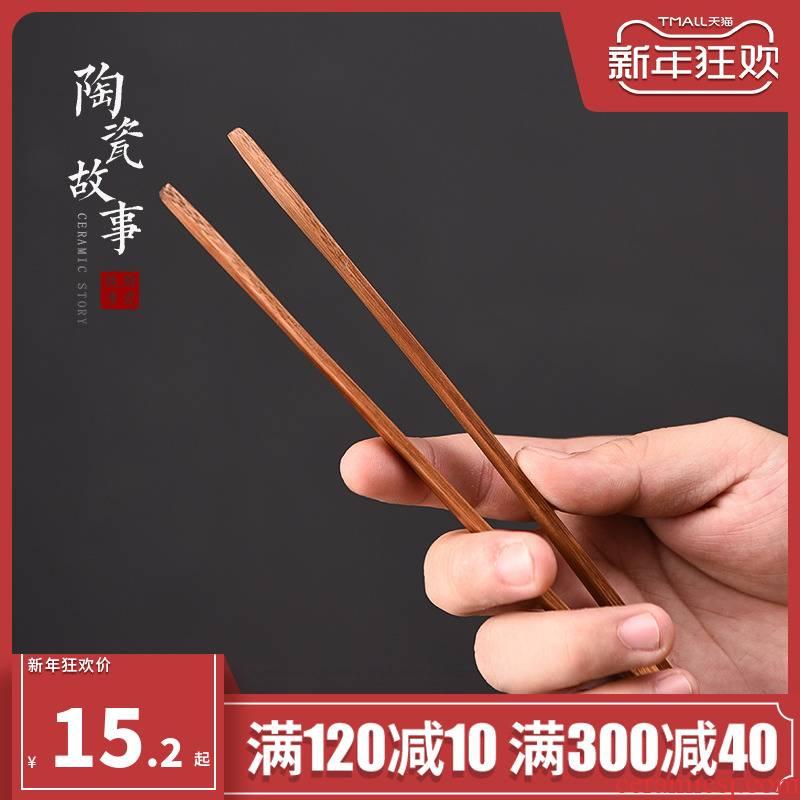 Ceramic story ChaGa bamboo single ebony wood Japanese high antiskid tea six gentleman tea accessories
