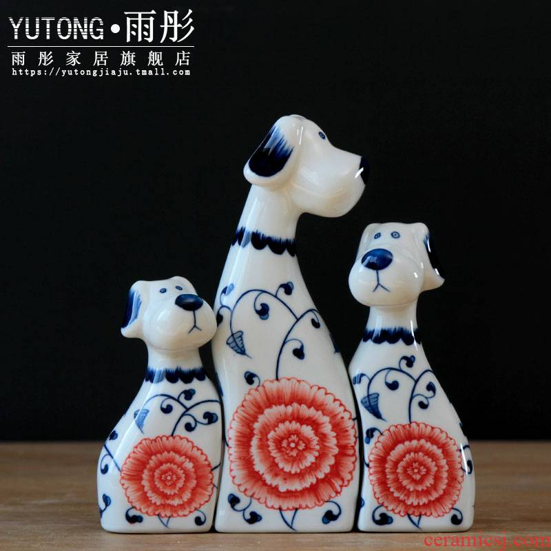 Jingdezhen ceramic dog blue and white living room home furnishing articles desktop small creative interior decoration