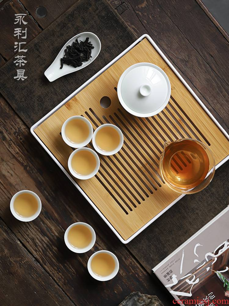Kung fu tea cups suit small household set of tureen sitting room tea light Japanese key-2 luxury white porcelain of jingdezhen ceramics