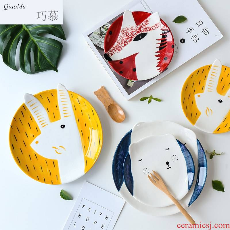 Qiao mu children cartoon express baby animals ceramic plate breakfast dish dish dessert snacks snacks plates