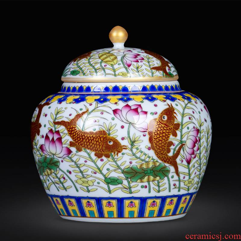 Jingdezhen ceramic every year more than loose tea caddy fixings storage POTS household receive sealed container grains storage tank
