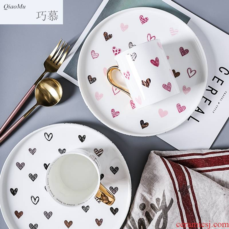 Qiao mu, lovely gold - plated love handle ceramic saucer red cup western - style food plate glass plates in the afternoon