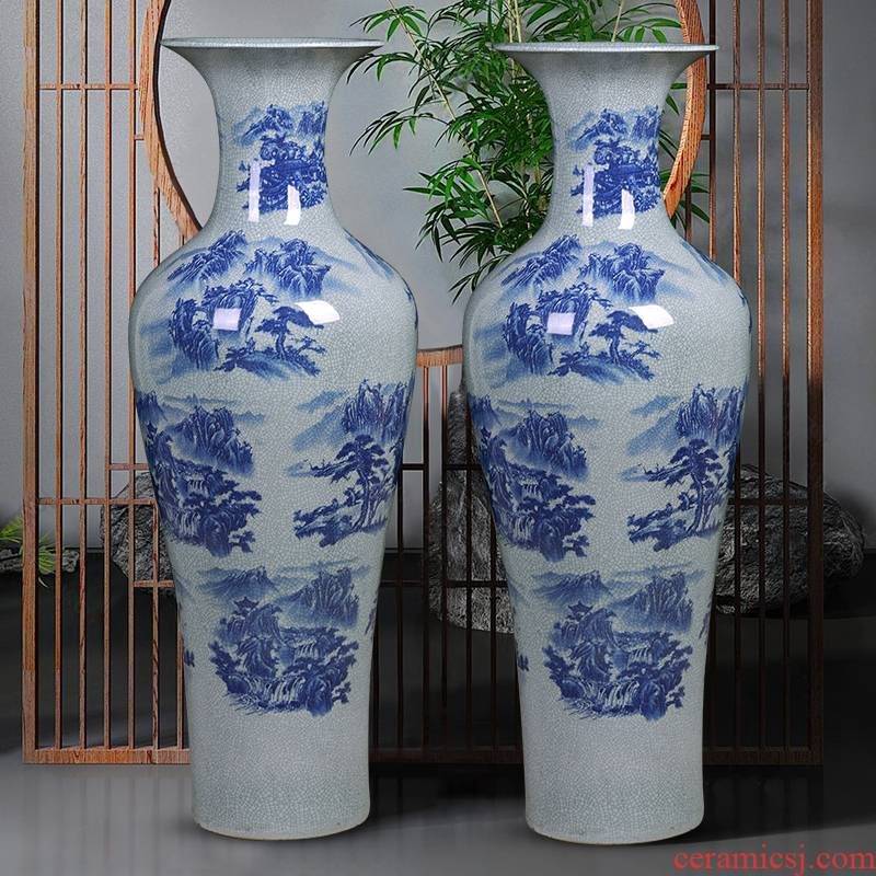 Blue and white porcelain of jingdezhen ceramics vase crack archaize floor living room extra large hotel decoration furnishing articles