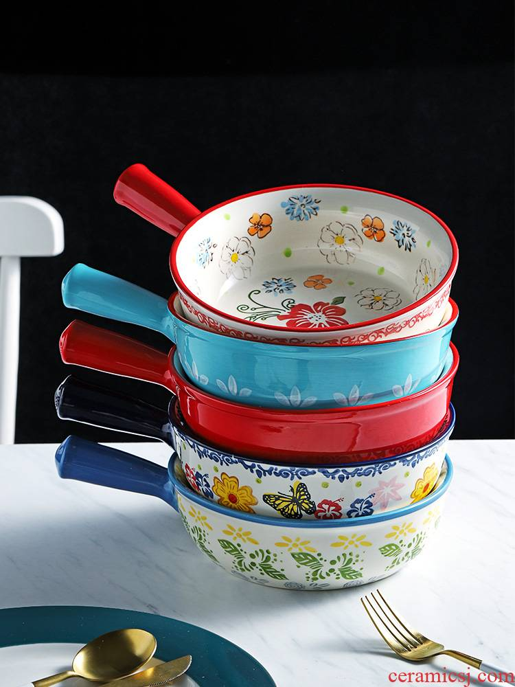 Japanese hand - made ceramic handle high - temperature baking bowl bowl with baked home a single large fruit salad bowl
