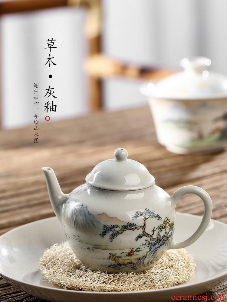 Jingdezhen checking Chinese teapot kunfu tea ball hole, small pot of hand - made of ceramic tea pot of single pot, kettle