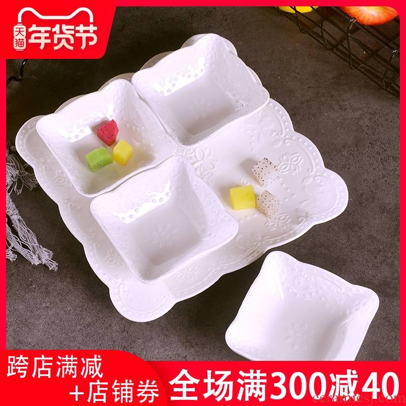 Creative hotpot condiment dishes set dip vinegar dish five fashion ceramic fruit platter tray is' lads' Mags' including nuts