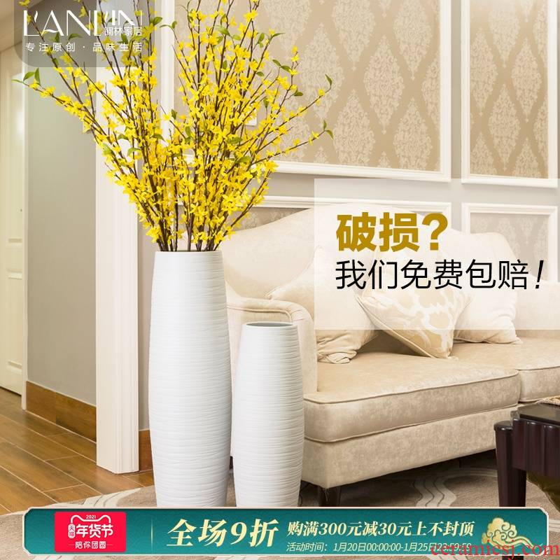 Ground vase large white I and contracted simulation package dried flowers flower arrangement sitting room porch ceramic furnishing articles