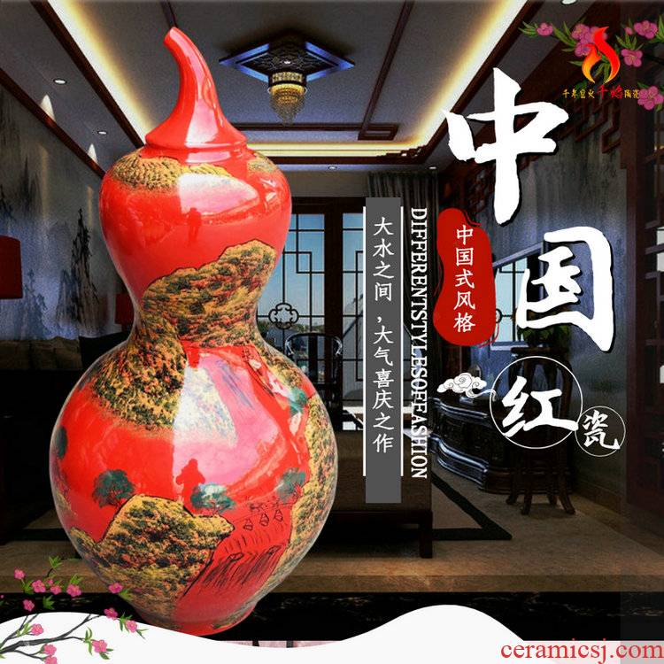 Jingdezhen ceramics of large vase China red hand - made scenery gourd decorative furnishing articles sitting room hotel lobby