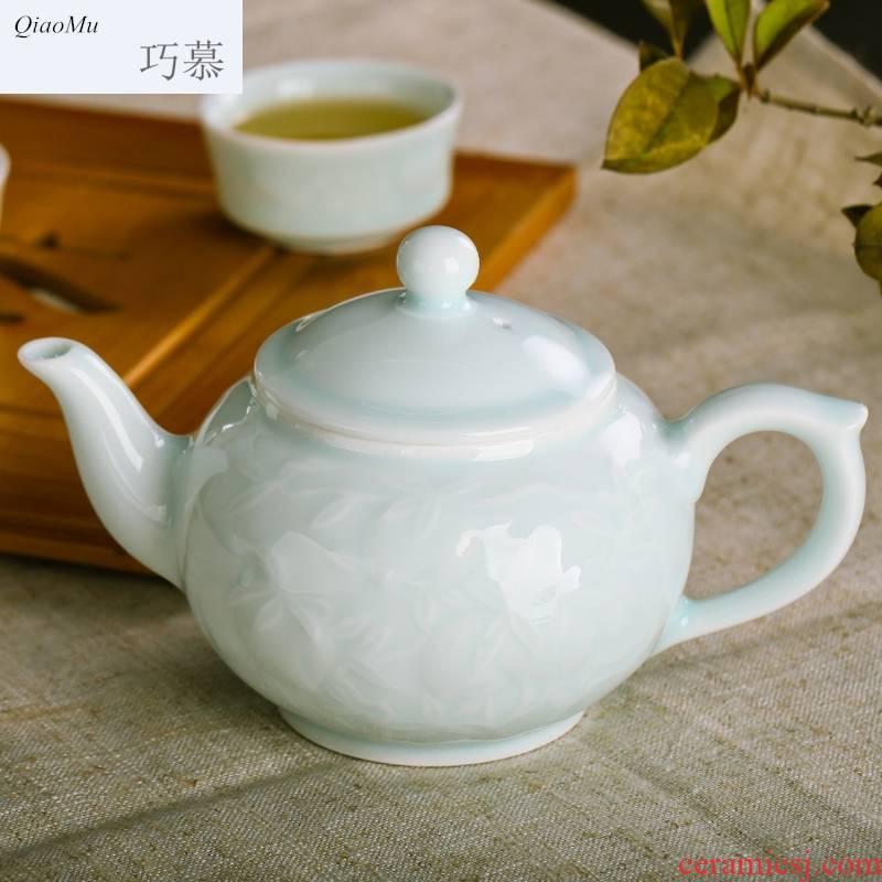 Qiao mu JYD longquan celadon shadow teapot jingdezhen ceramic tea set porcelain of a complete set of kung fu tea by hand