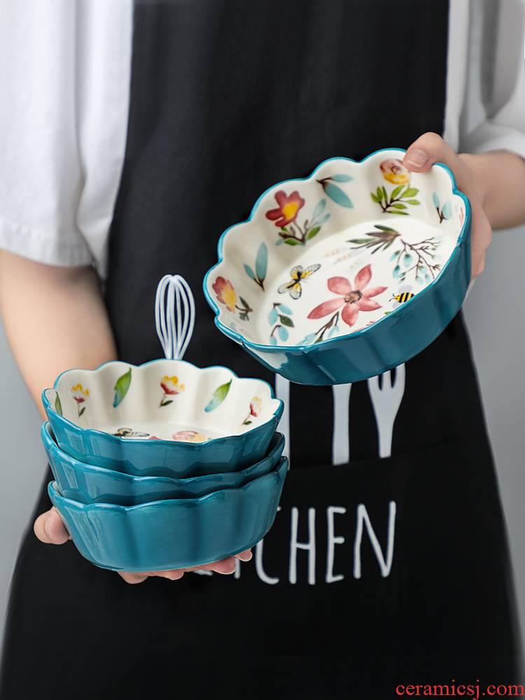 Ceramic Japanese cherry small bowl individual household creative move and lovely young girl heart fruit salad bowl dishes