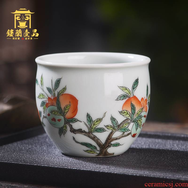 Jingdezhen ceramic all hand - made colors peach lines master cup kung fu tea cup tea cup individual sample tea cup