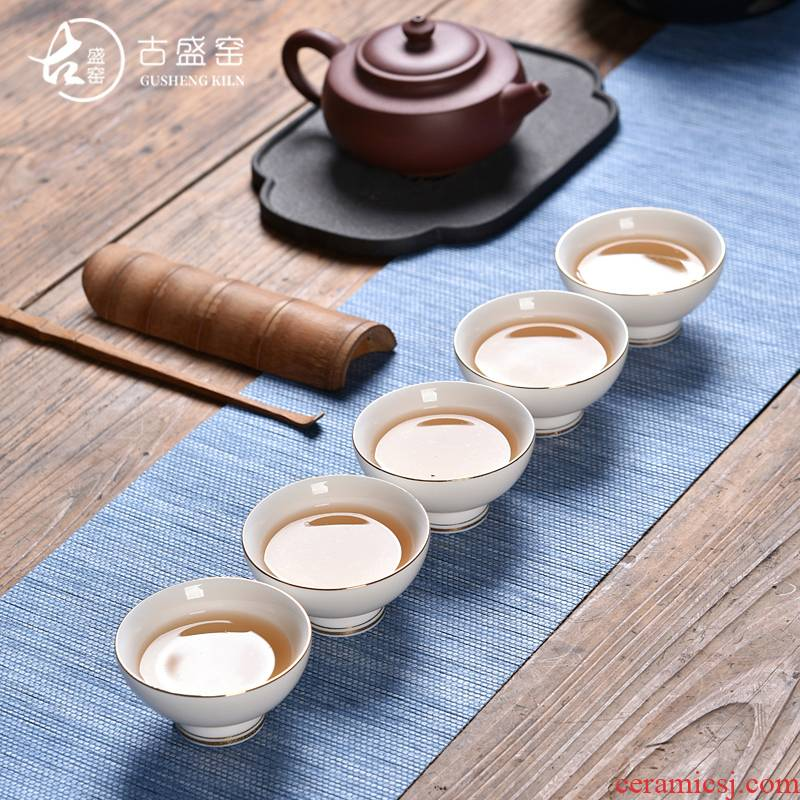 Ancient sheng up new hand - made suet jade porcelain ceramic sample tea cup, kung fu master paint individual cup white porcelain tea set