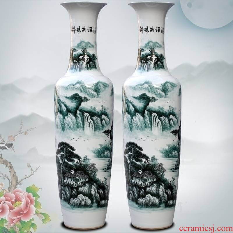 Jingdezhen ceramic hand - made bright future of the big vase household office furnishing articles study Chinese sitting room adornment