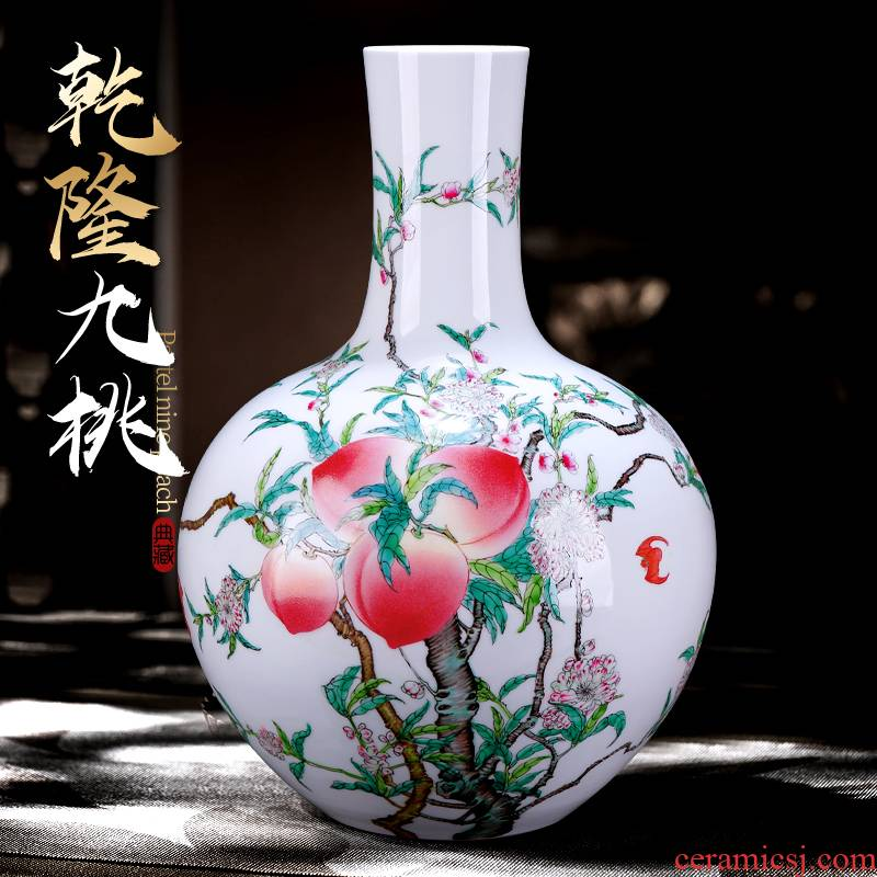 Jingdezhen ceramic antique hand - made pastel peach nine Chinese sitting room adornment is placed large celestial large vase