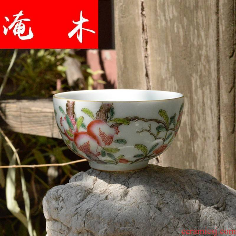 Submerged wood jingdezhen all hand hand tea set to make a fire archaize maintain enamel glaze color peach bowl is on the individual
