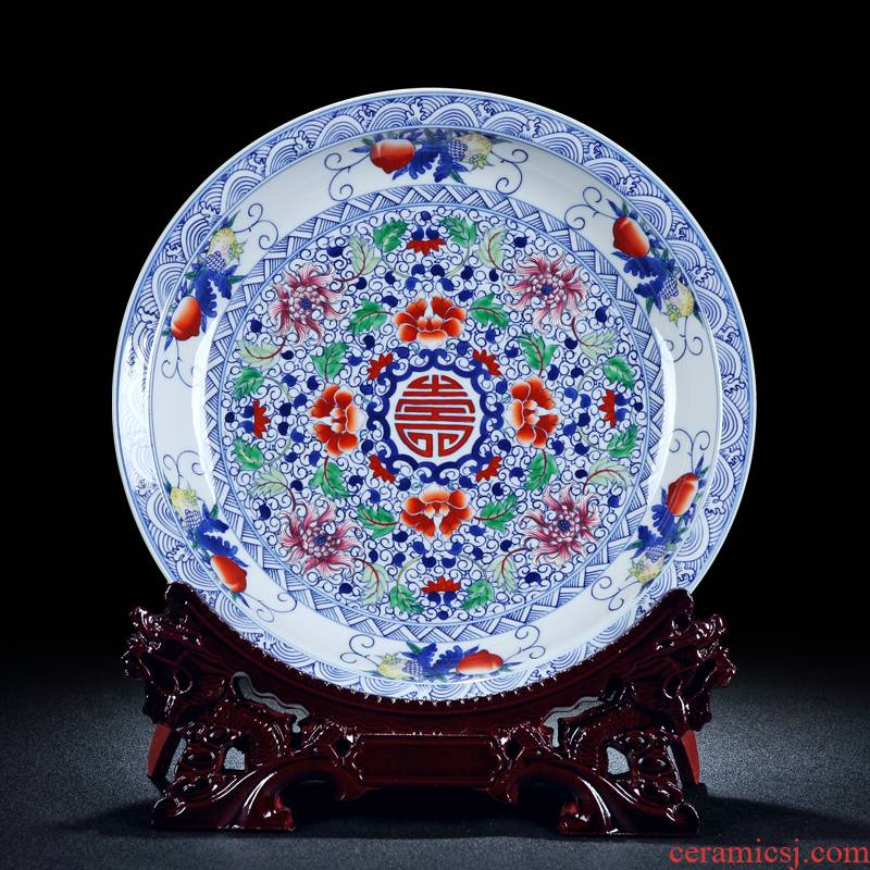 Archaize of jingdezhen ceramics powder enamel porcelain floral disk plate hanging dish decorated sat dish rich ancient frame furnishing articles