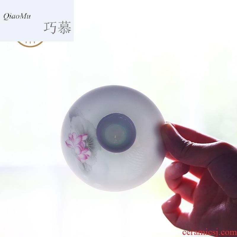 Qiao mu CNT jade porcelain kung fu tea set of jingdezhen ceramic eight the tureen tea home office suits for