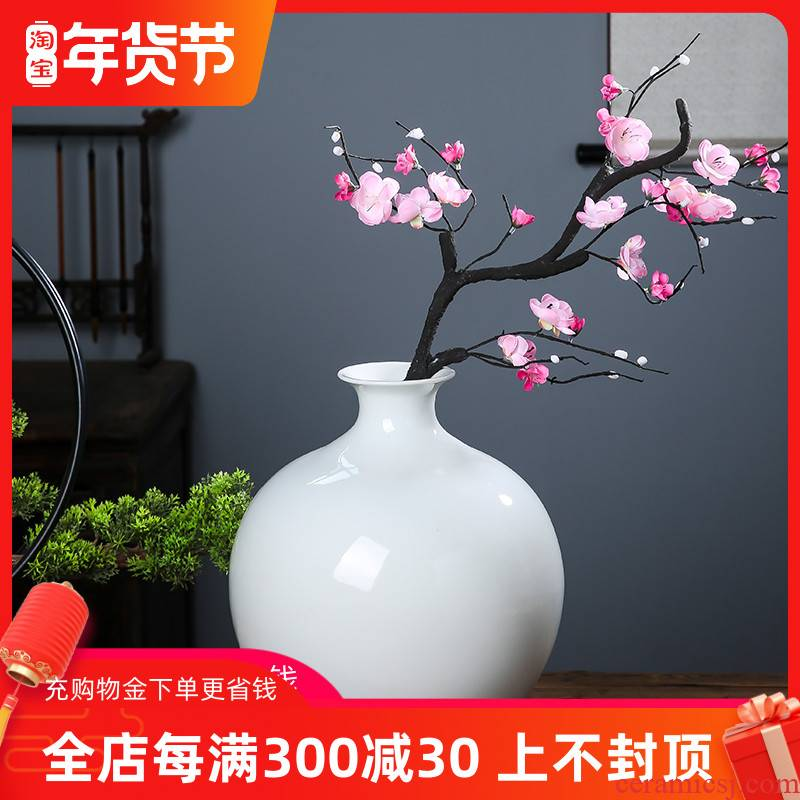 Jingdezhen ceramic I and contracted white vase flower arranging home sitting room adornment handicraft furnishing articles ou