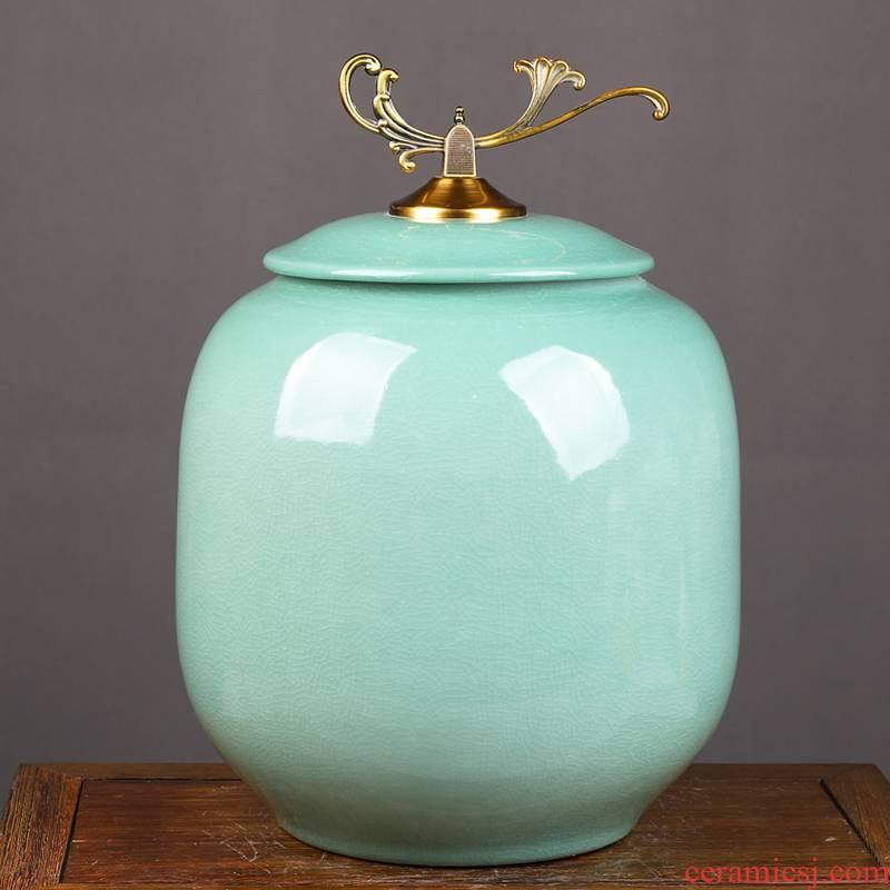 Jingdezhen ceramic barrel with cover ricer box cylinder oil cylinder cylinder seal tea grains flour storage tank furnishing articles