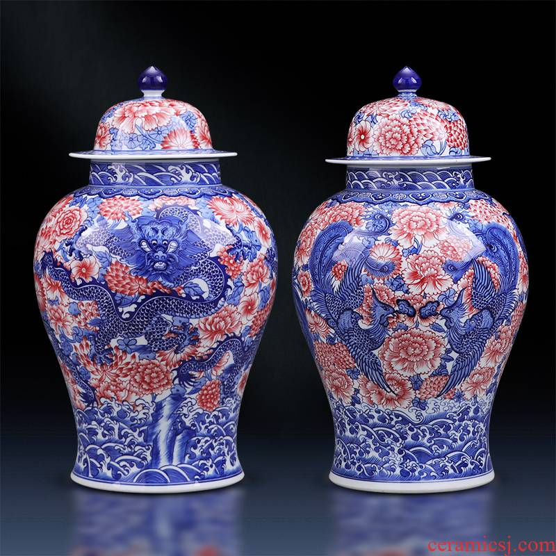Jingdezhen ceramic furnishing articles youligong hand - made longfeng general canister to large Chinese style household adornment TV ark