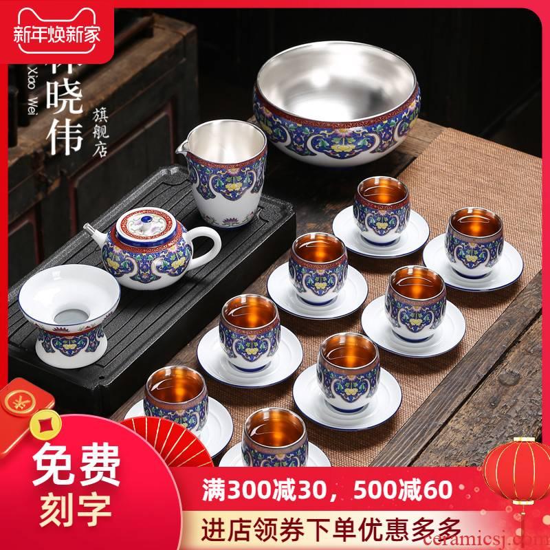 Jingdezhen 999 sterling silver tea set kung fu tea colored enamel ceramic teapot tea of a complete set of household contracted