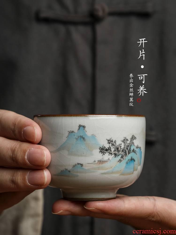 Jingdezhen hand - made kung fu tea cups ru up market metrix one cup of a cup of pure checking ceramic tea set sample tea cup landscape tea sets