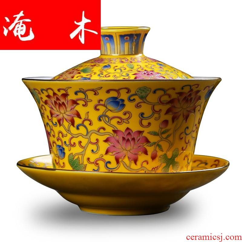 Submerged wood tea tureen large kung fu tea set three cups to jingdezhen ceramic colored enamel household 300 ml of tea