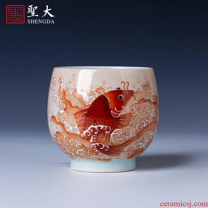 Santa teacups hand - made ceramic kung fu imitation guangxu alum red heap white fish grain cup manual of jingdezhen tea service master