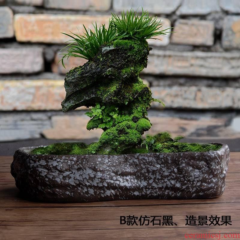 Large platter ceramic micro landscape more meat bowl lotus flower POTS grass cooper bowl aquarium imitation stone hydroponic nonporous flowerpot