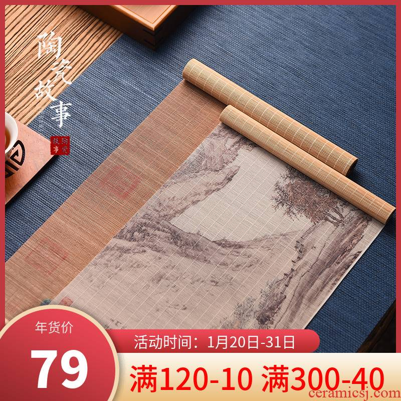 Story of pottery and porcelain tea mat waterproof bamboo small bamboo has zen Japanese tea of China wind restoring ancient ways with bamboo tea table flag cloth seats