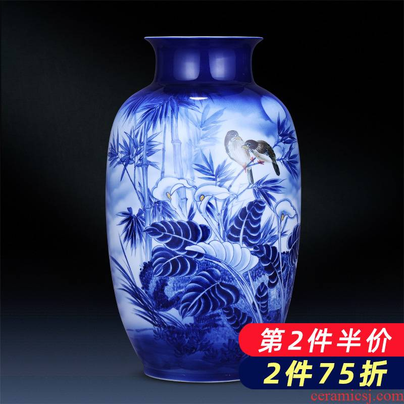 Jingdezhen porcelain ceramic hand - made of blue and white porcelain vases, new Chinese style household, large sitting room adornment is placed on the ground