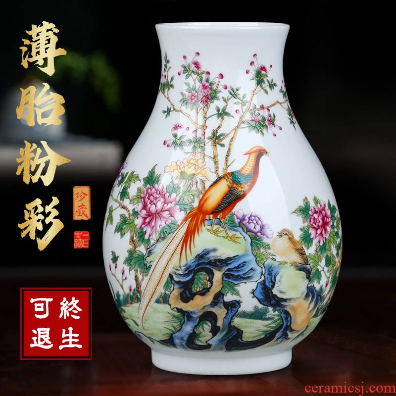 Jingdezhen ceramics powder enamel vase floral outraged flower arranging new sitting room of Chinese style household furnishing articles table decoration decoration