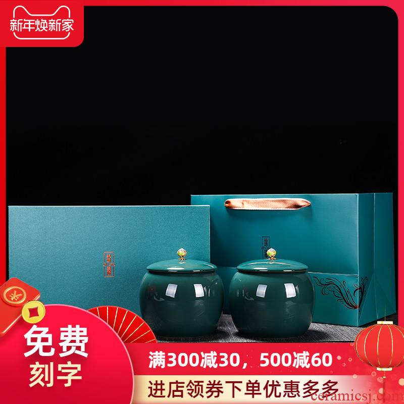Ceramic tea pot seal pot loose tea storage POTS Chinese store receives black tea, green tea general empty box packing