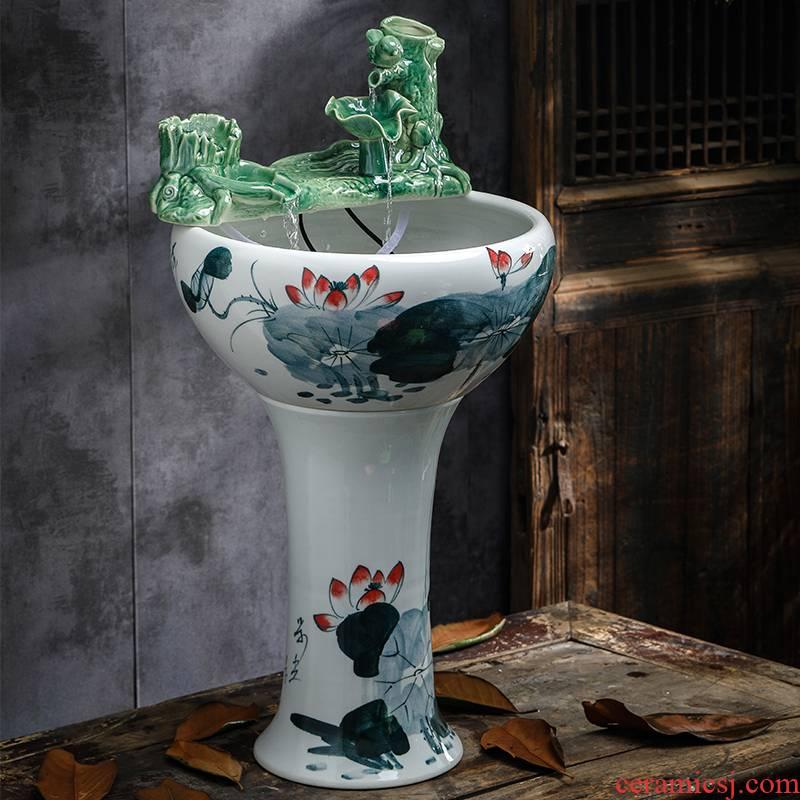 Jingdezhen ceramic aquarium pillar landing circular large goldfish bowl sitting room automatic flow aerobic fish bowl