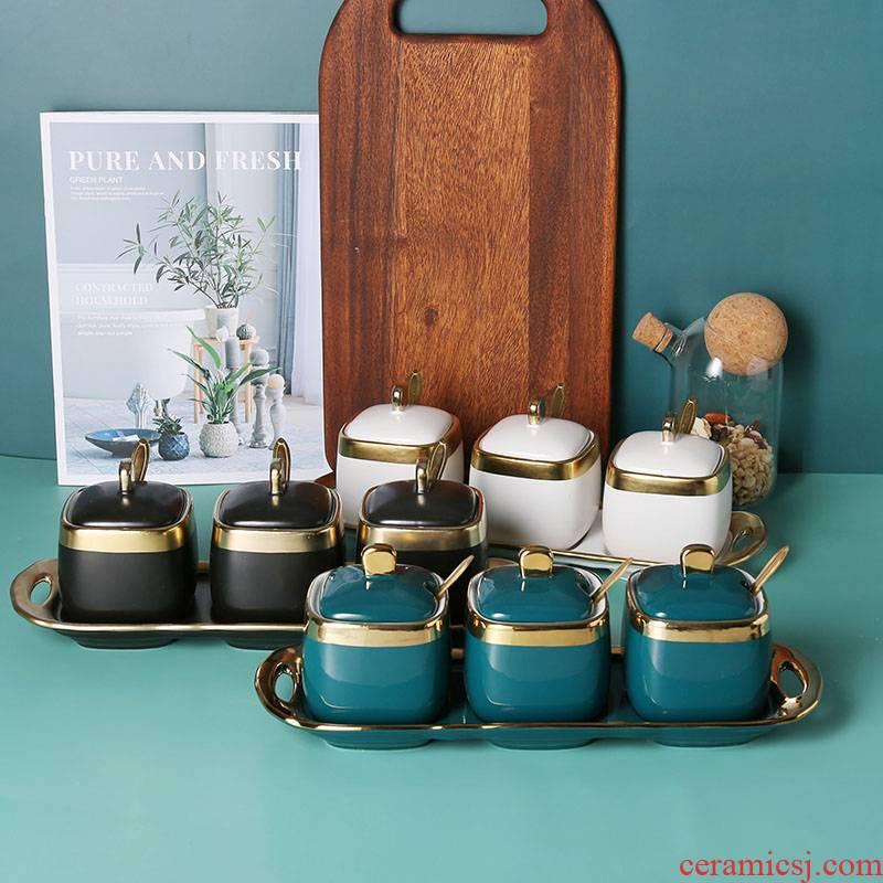 Emerald seasoning as cans Nordic light key-2 luxury gold ceramic three - piece dressing boxed set combination kitchen condiment bottles of salt