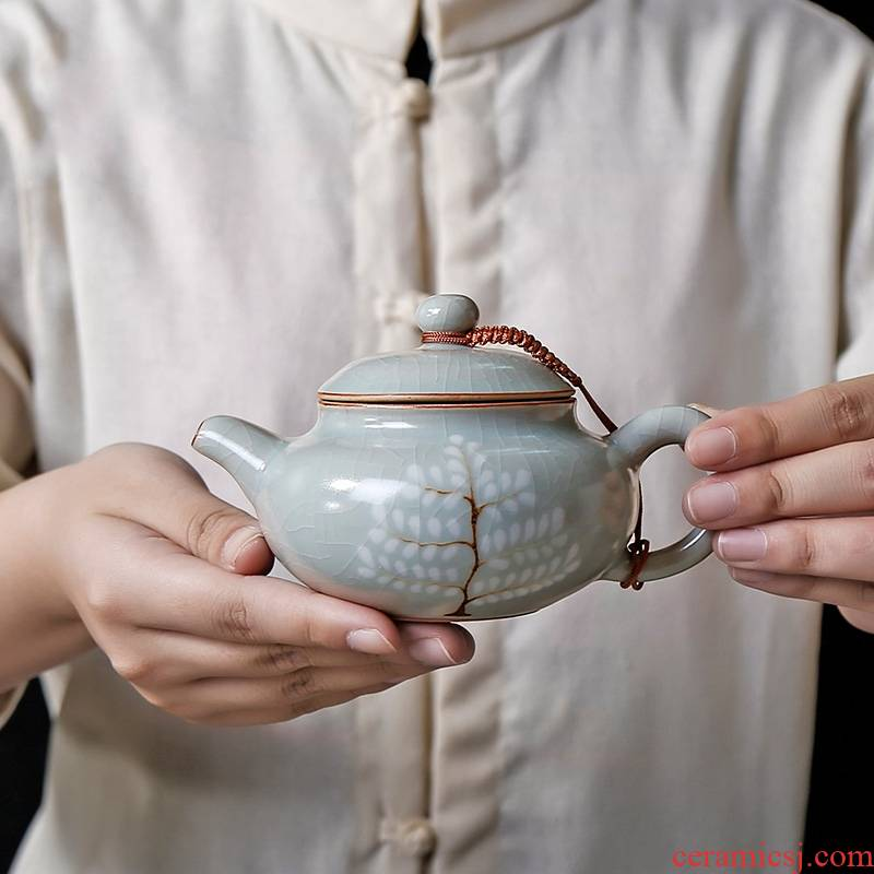 Qiao mu PMZ your up large ceramic teapot household of Chinese style hand ice crack glaze single piece of restoring ancient ways can raise hand