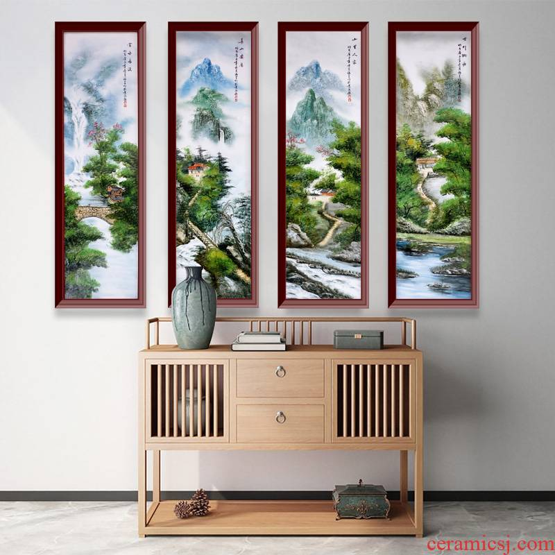 Jingdezhen ceramics hand - made adornment pastel landscape painter porcelain plate in the sitting room sofa background wall to hang a picture