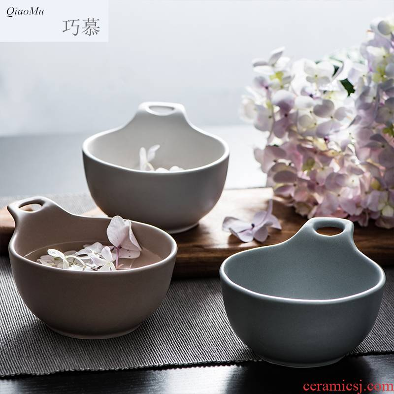 Qiam qiao mu creative ceramic bowl American contracted household tableware rice bowls, lovely children bowl of Manhattan
