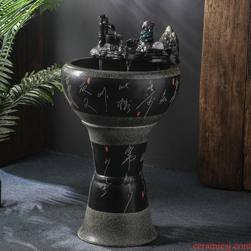 Jingdezhen ceramic filter home sitting room aquarium pillar landing a goldfish bowl fish bowl housewarming gift outside
