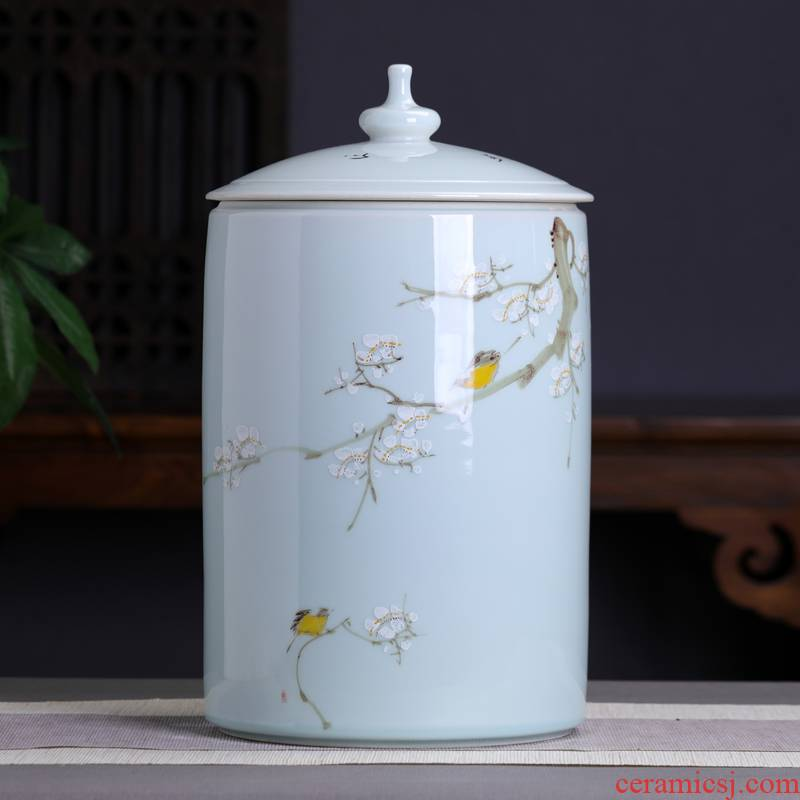 Hand - made straight ceramic tea cake storage tanks caddy fixings furnishing articles large household adornment pu 'er wake POTS with cover