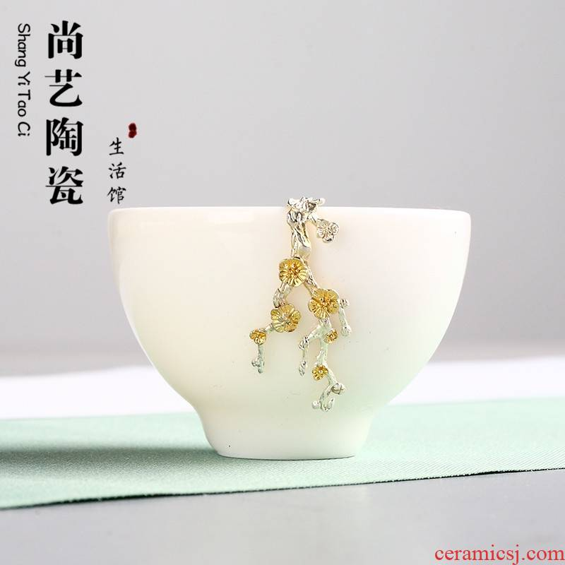 Dehua white porcelain inlay silver cup suet white ceramic sample tea cup kung fu tea tea service master cup single cup, bowl of gifts