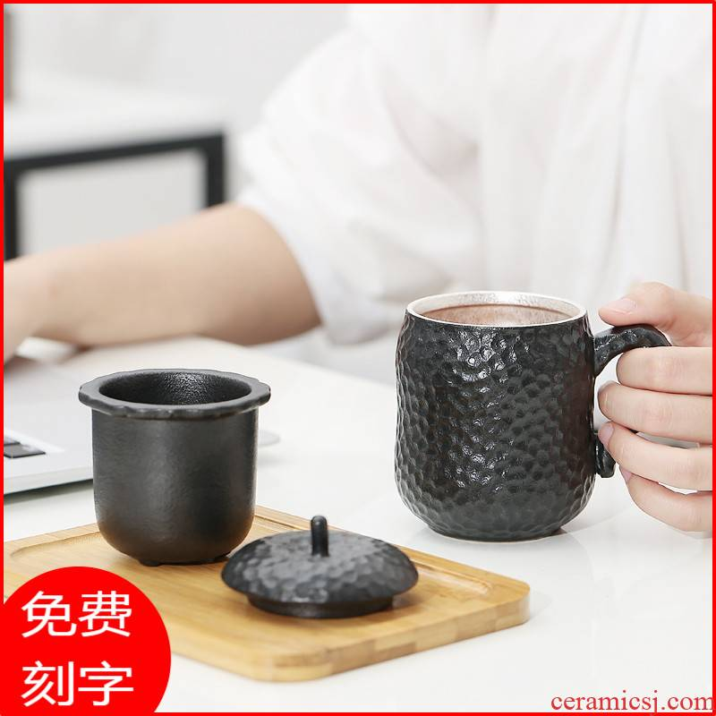 Creative glass ceramic separation silver cup 999 sterling silver tea cup office cup with cover individual cup contracted