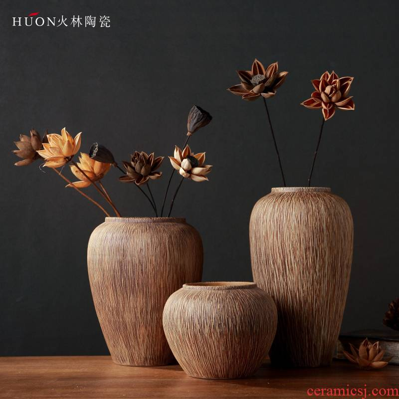Manually restore ancient ways of primitive simplicity bark ceramic coarse pottery vase Chinese dried flowers flower arrangement furnishing articles zen ceramic flower POTS