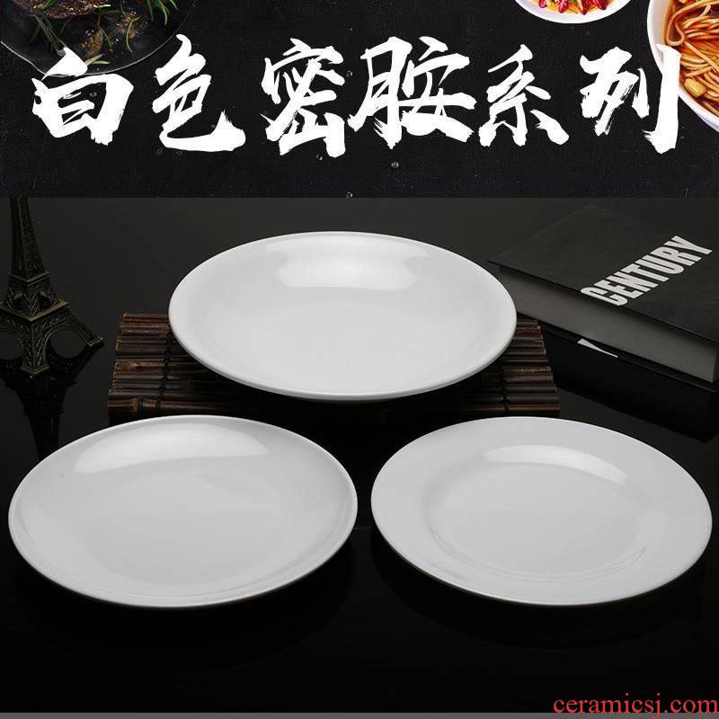 Melamine plastic disk with thick white western flat imitation porcelain child Chinese disc plastic disc western food dishes