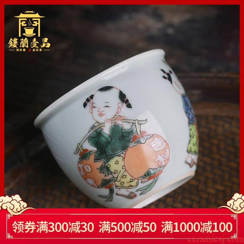 Jingdezhen ceramic luck boy all hand - made colors cylinder cup kunfu tea, tea cup single CPU master CPU