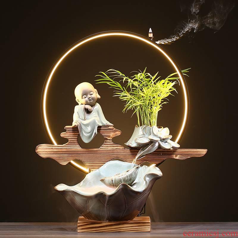 Ceramic circulating water furnishing articles sitting room office desktop back in Chinese zen incense shops opening housewarming gift