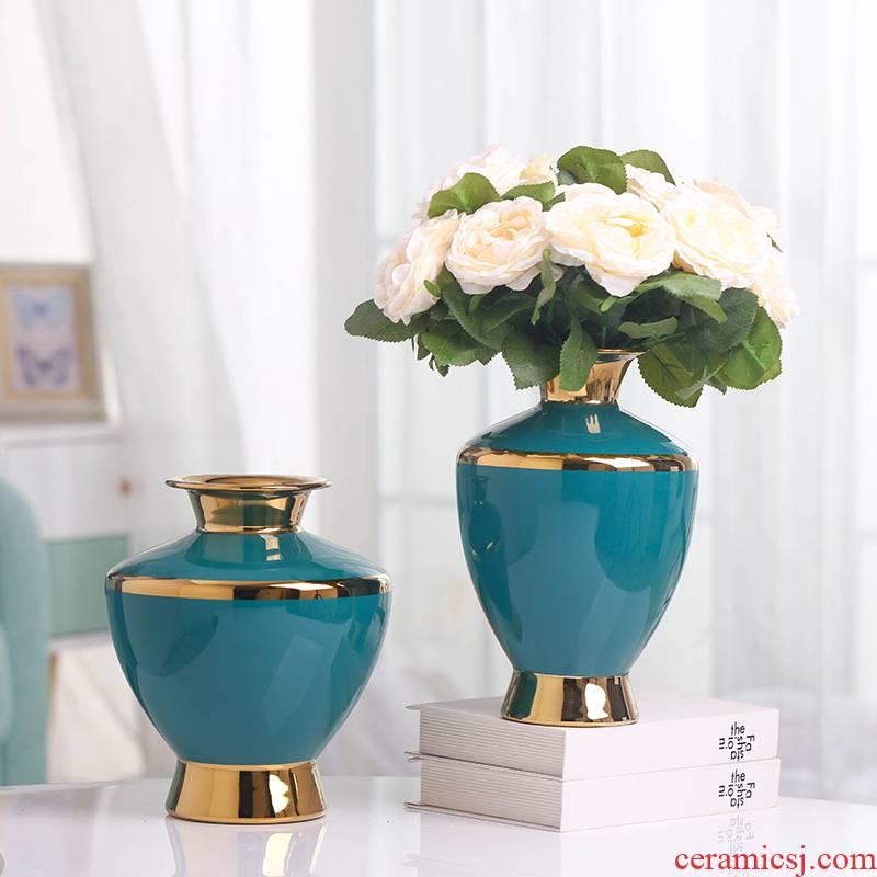 Light European - style key-2 luxury golden vase furnishing articles of jingdezhen ceramic creative modern fashion TV ark, sitting room dry flower receptacle