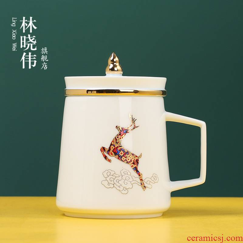 Jingdezhen ceramic filter with cover glass tea cup cup high - capacity gifts custom office a cup of tea separation