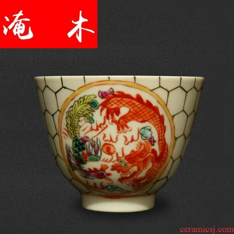 Flooded jingdezhen wood antique collection guangxu dynasty antique hand - made pastel longfeng single cup tea cup cup product master